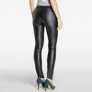 Black NYC spray on faux leather leggings pants
